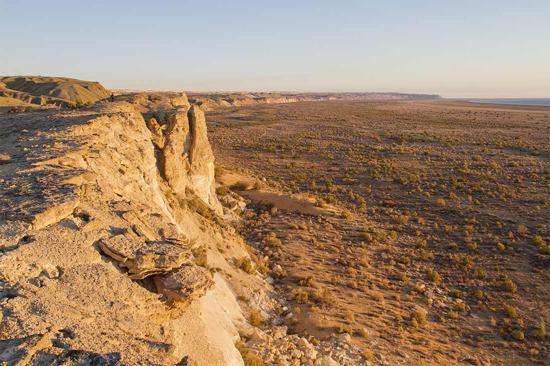 Un paysage désertique de la mer d'Aral
