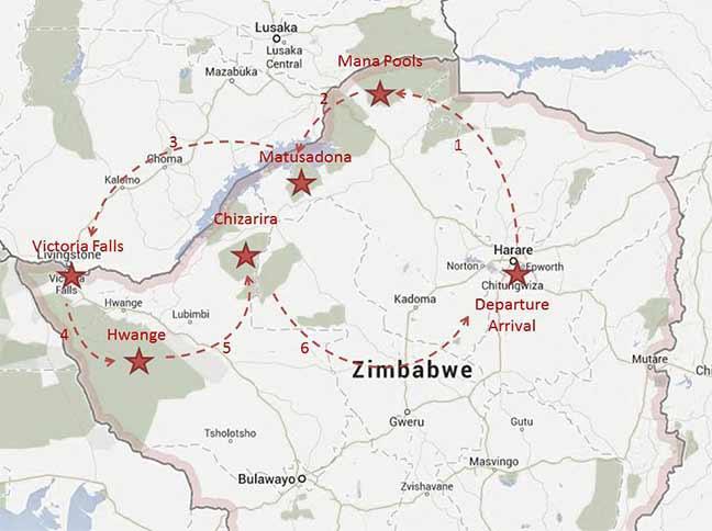 Carte de l'itinéraire d'Elsa Bussière en ULM
